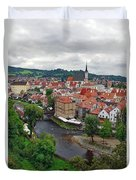 A View Overlooking The Vltava River And Cesky Krumlov In The Czech Republic Duvet Cover