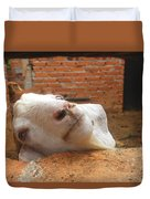 A Visit With A Smiling Goat Duvet Cover