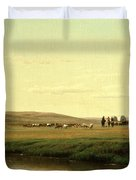 A Wagon Train On The Plains Duvet Cover