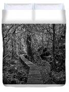 A Walk Through The Willowbrae Rainforest Black And White Duvet Cover
