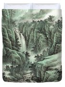 A Waterfall In The Mountains Duvet Cover