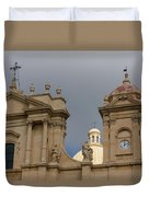 A Well Placed Ray Of Sunshine - Noto Cathedral Saint Nicholas Of Myra Against A Cloudy Sky Duvet Cover