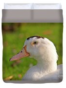 A White Duck, Side View Duvet Cover