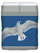 A White Gull Flying In Sky Duvet Cover