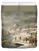 A Winter Landscape With Travellers On A Path Duvet Cover
