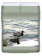 A Winter Swim Duvet Cover