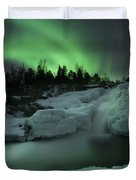 A Wintery Waterfall And Aurora Borealis Duvet Cover
