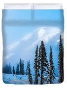 A Wintry Day On Mt Rainier Duvet Cover