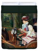 A Woman And Child In The Driving Seat Duvet Cover by Mary Stevenson Cassatt