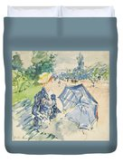 A Woman Seated At A Bench On The Avenue Du Bois Duvet Cover
