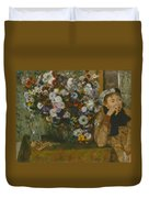 A Woman Seated Beside A Vase Of Flowers Duvet Cover