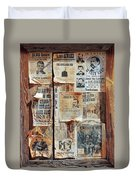 A Wooden Frame Full Of Wanted Posters Duvet Cover