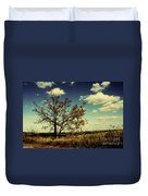 A Yellow Tree In A Middle Of A Dry Field - Wide Angle Duvet Cover