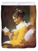 A Young Girl Reading Duvet Cover