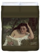 A Young Woman Reading Duvet Cover