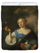 A Young Woman With A Parrot, Ary De Vois, 1660 - 1680 Duvet Cover