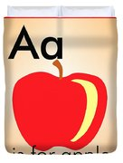 Aa Is For Apple Duvet Cover