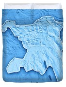 Aargau Canton Switzerland 3d Render Topographic Map Blue Border Duvet Cover
