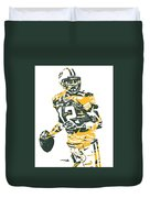 Aaron Rodgers Green Bay Packers Pixel Art 15 Duvet Cover