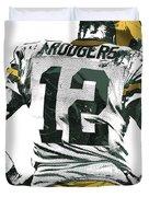 Aaron Rodgers Green Bay Packers Pixel Art 6 Duvet Cover