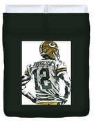 Aaron Rodgers Green Bay Packers Pixel Art 5 Duvet Cover
