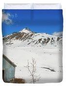 Abandon Building Alaskan Mountains Duvet Cover