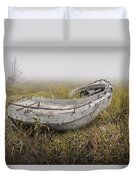 Abandoned Boat In The Grass On A Foggy Morning Duvet Cover