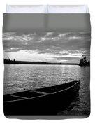 Abandoned Canoe Floating On Water Duvet Cover