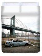 Abandoned Car And Manhattan Bridege Duvet Cover