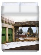 Abandoned Service Station Painterly Impressions Duvet Cover