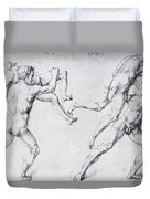 Abduction Of A Woman Rape Of The Sabine Women 1495 Duvet Cover