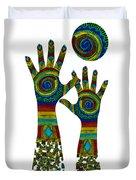 Aboriginal Hands Gold Transparent Background Duvet Cover