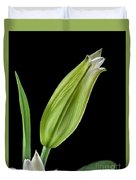 White Oriental Lily About To Bloom Duvet Cover