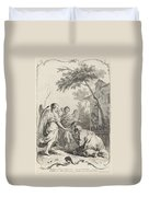 Abraham Kneeling Before The Three Angels Duvet Cover