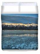 Abraham Lake Ice Bubble Sunset Duvet Cover