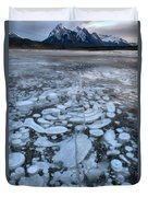 Abraham Lake Ice Bubbles Duvet Cover