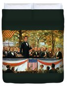 Abraham Lincoln And Stephen A Douglas Debating At Charleston Duvet Cover by Robert Marshall Root