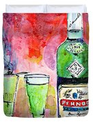 Absinthe Bottle And Glasses Watercolor By Ginette Duvet Cover