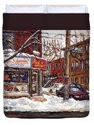 Rue De Pointe St Charles En Hiver Scenes De Rue De Montreal Peinture Originale A Vendre Paul Patates Duvet Cover