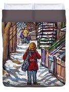 En Route Vers L'ecole Escaliers De Montreal Scenes De Ville Peintures A Vendre Duvet Cover