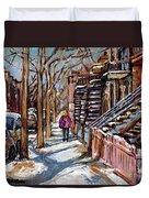 Scenes De Ville De Montreal En Hiver Original Quebec Art For Sale Montreal Street Scene Duvet Cover