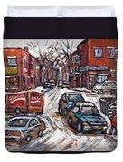 Ville Emard En Peinture Scenes De Ville De Montreal En Hiver Petit Format A Vendre Duvet Cover