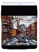 Plateau Mont Royal Scenes De Rue De Montreal En Hiver Rue Napoleon Petit Format A Vendre Duvet Cover