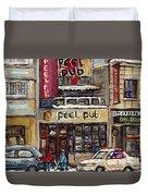 Rue Peel Montreal En Hiver Parie De Hockey De Rue Peel Pub Duvet Cover