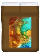 Abstract Art Colorful Turquoise Rust River Of Rust I By Madart  Duvet Cover