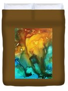 Abstract Art Colorful Turquoise Rust River Of Rust IIi By Madart Duvet Cover by Megan Duncanson