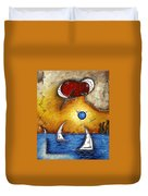 Abstract Art Contemporary Coastal Cityscape 3 Of 3 Capturing The Heart Of The City I By Madart Duvet Cover