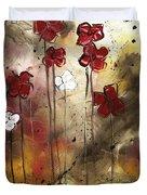 Abstract Art Original Flower Painting Floral Arrangement By Madart Duvet Cover