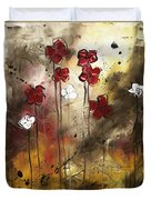 Abstract Art Original Flower Painting Floral Arrangement By Madart Duvet Cover
