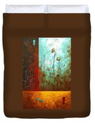 Abstract Art Original Poppy Flower Painting Subtle Changes By Madart Duvet Cover